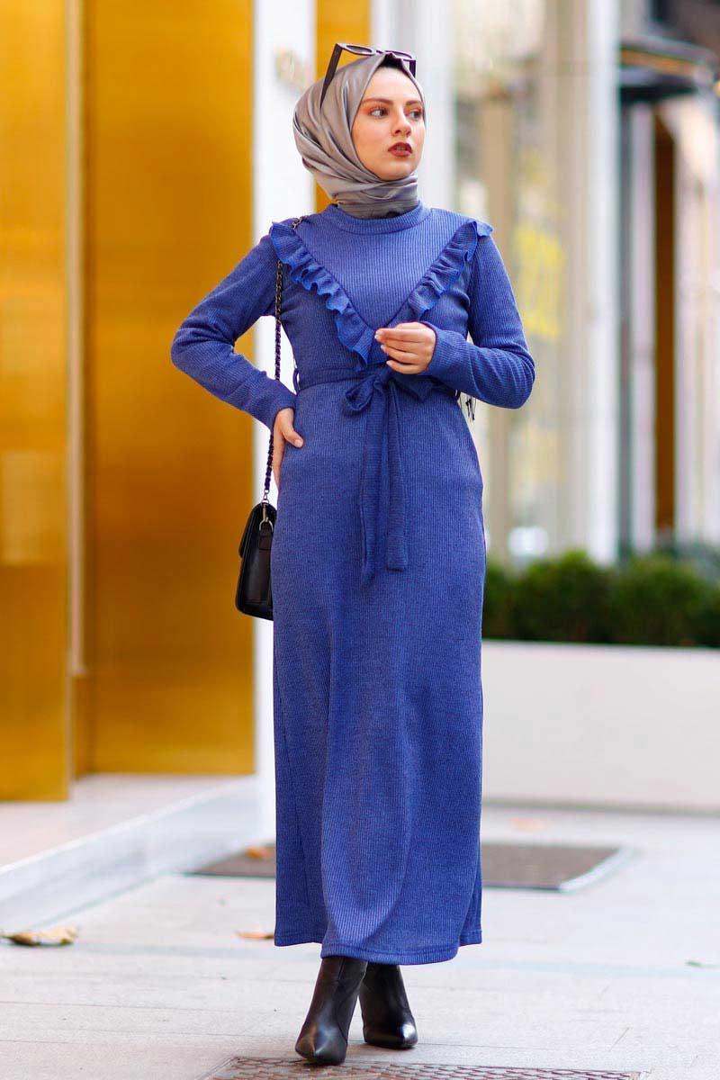 New Face - Fırfırlı İndigo Tesettür Elbise Nfc4031-5 (1)