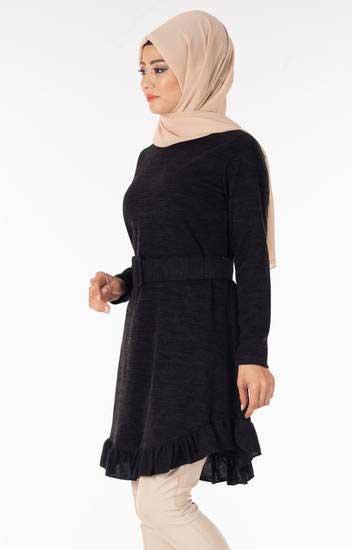 Nessia - Fırfırlı Kemerli Siyah Tesettür Tunik Nsa5639-1 (1)