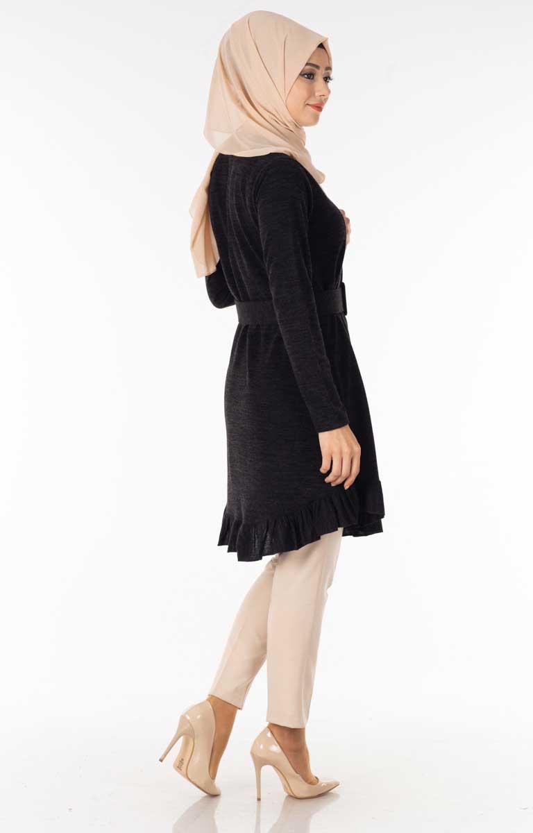 Fırfırlı Kemerli Siyah Tesettür Tunik Nsa5639-1