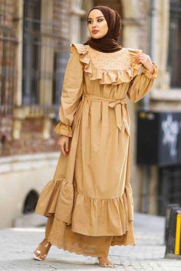 Nicotin Butik - Fırfırlı Krem Tesettür Elbise Nkt61048-5 (1)