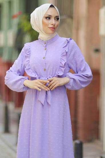 Gülen - Fırfırlı Lila Tesettür Elbise Gln1013-5 (1)