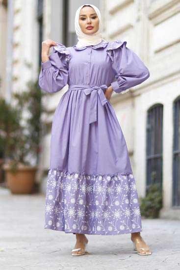 Nicotin Butik - Nakışlı Lila Tesettür Elbise Nkt61190-3 (1)