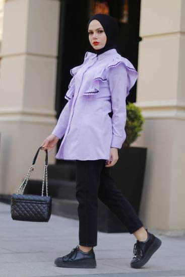 New She Fashion - Fırfırlı Lila Tesettür Gömlek Nsf1428-3 (1)