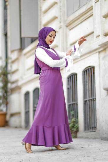 Nessia Butik - Fırfırlı Mor Tesettür Elbise Nsa6595-2 (1)
