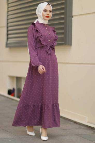 Gülen - Fırfırlı Mürdüm Tesettür Elbise Gln1013-4 (1)
