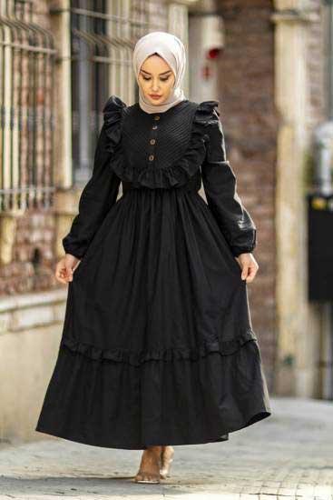 Nicotin Butik - Fırfırlı Siyah Tesettür Elbise Nkt61043-2 (1)