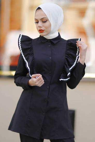 New She Fashion - Fırfırlı Siyah Tesettür Gömlek Nsf1428-2 (1)