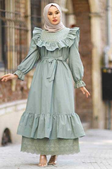 Nicotin Butik - Fırfırlı Su Yeşili Tesettür Elbise Nkt61048-2 (1)