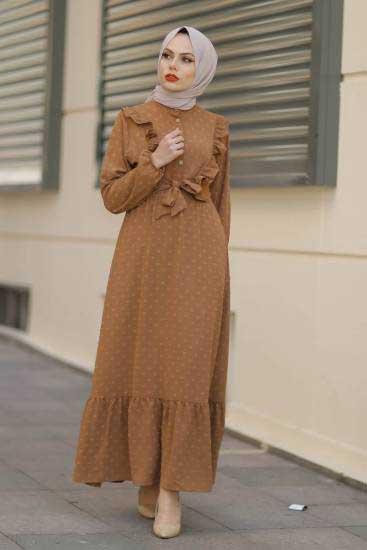 Gülen - Fırfırlı Taba Tesettür Elbise Gln1013-1 (1)