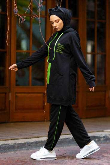 Nessia Butik - F.Yeşili Cep Detaylı Siyah Tesettür İkili Takım Nsa6523-1 (1)