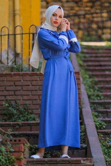 Nessia Butik - Göğsü Fırfırlı İndigo Tesettür Elbise Nsa6712-3 (1)