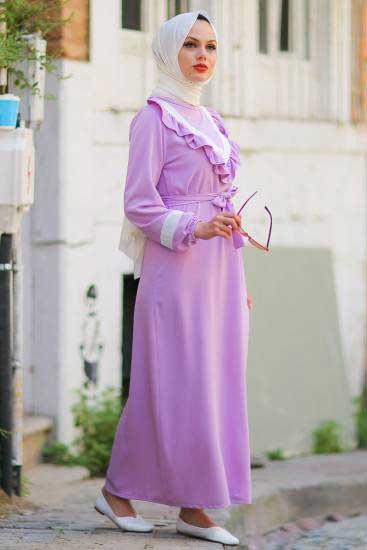 Nessia Butik - Göğsü Fırfırlı Lila Tesettür Elbise Nsa6712-4 (1)