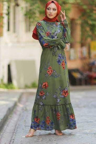 Gülen - Gül Desenli Haki Tesettür Elbise Gln1050-2 (1)