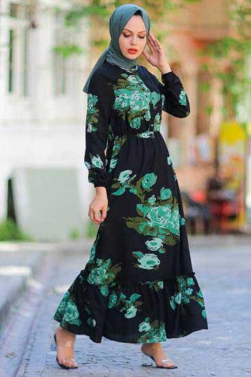 UMS Butik - Gül Desenli Haki Tesettür Elbise Ums3913-3 (1)