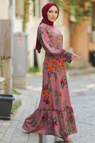 Gülen - Gül Desenli Pudra Tesettür Elbise Gln1050-3 (1)