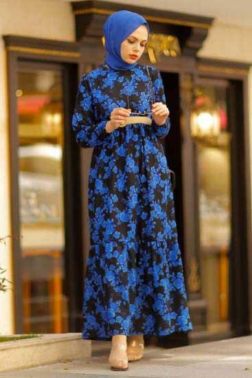 Hbs - Gül Desenli Saks Tesettür Elbise Hbs8713-1 (1)