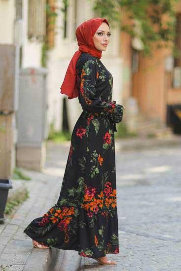 Gülen - Gül Desenli Siyah Tesettür Elbise Gln1050-4 (1)