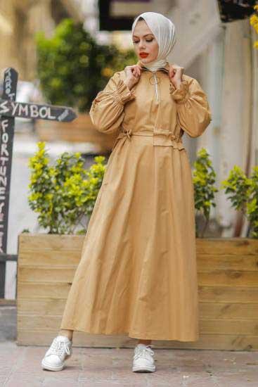 Halka Fermuarlı Biskuvi Tesettür Elbise Pln502-3