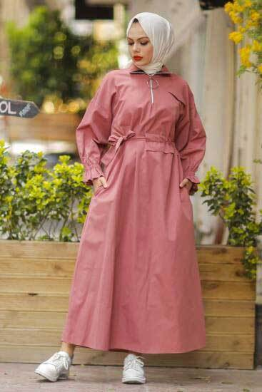 Polen - Halka Fermuarlı Gül Tesettür Elbise Pln502-1 (1)