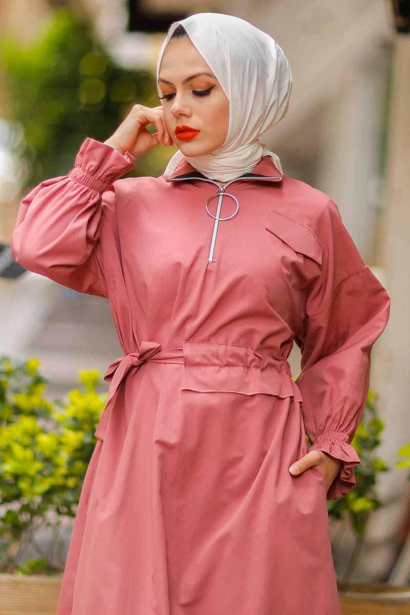 Halka Fermuarlı Gül Tesettür Elbise Pln502-1
