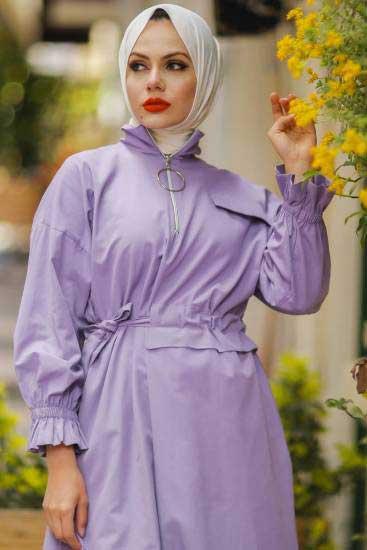 Polen - Halka Fermuarlı Lila Tesettür Elbise Pln502-4 (1)