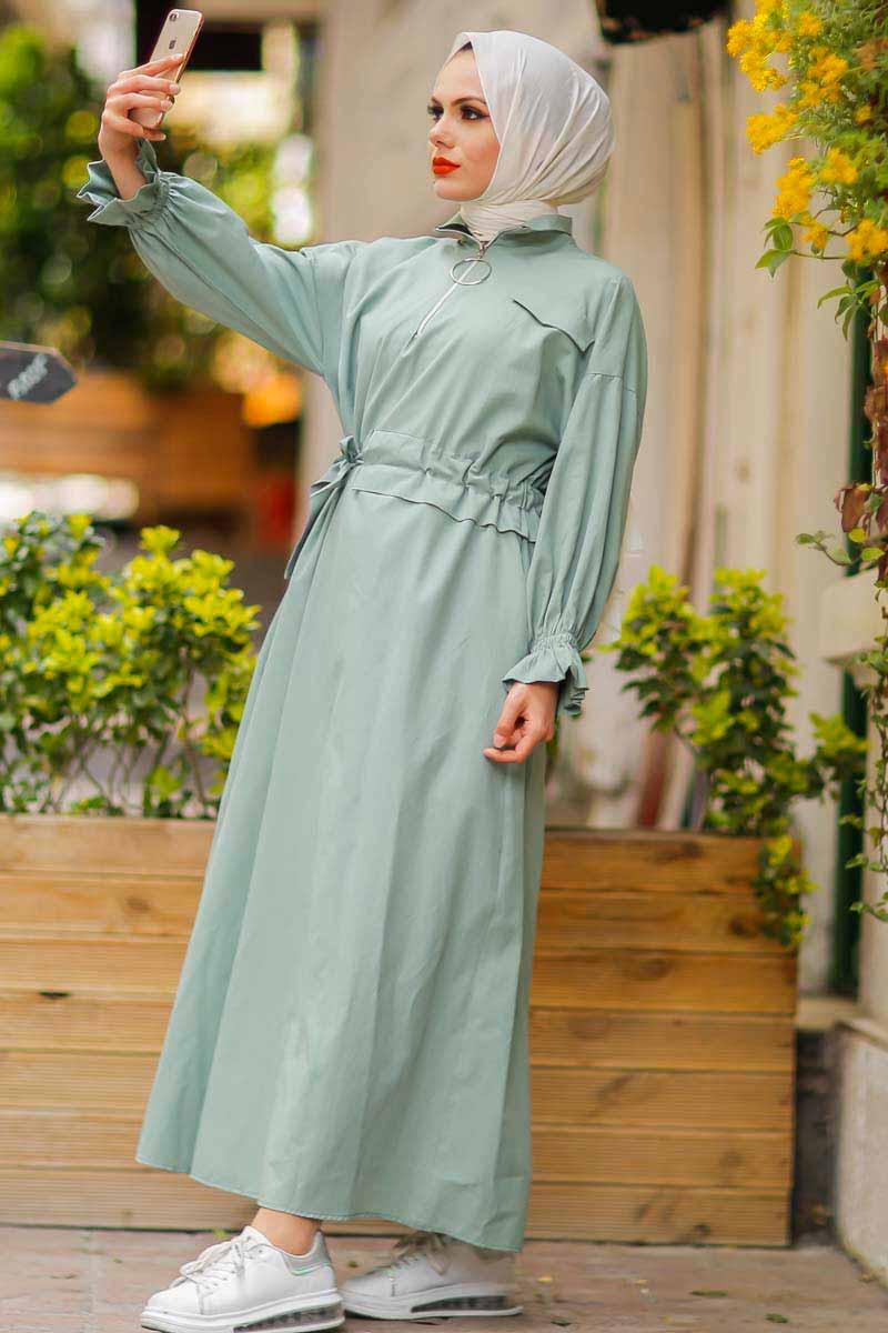 Halka Fermuarlı Mint Tesettür Elbise Pln502-5