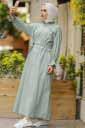 Halka Fermuarlı Mint Tesettür Elbise Pln502-5 - Thumbnail