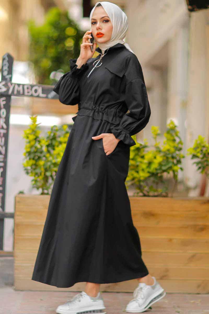 Halka Fermuarlı Siyah Tesettür Elbise Pln502-2