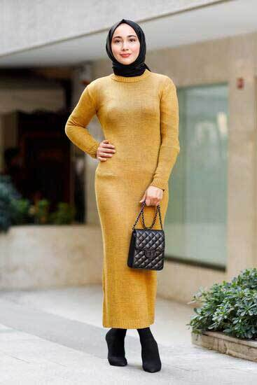 Moda Koncept - Hırka-Elbise Hardal Triko İkili Takım Kcp7780-5 (1)