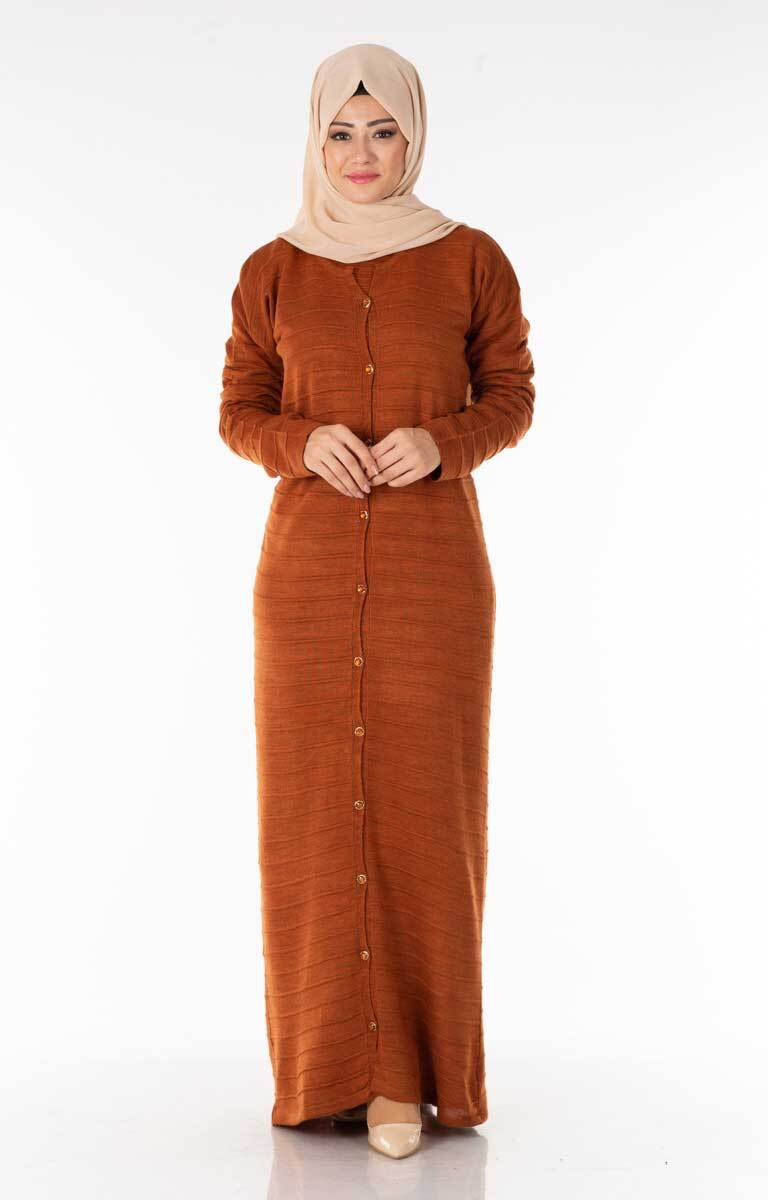 Hırka-Elbise Kiremit Tesettür İkili Takım Plt1890-3