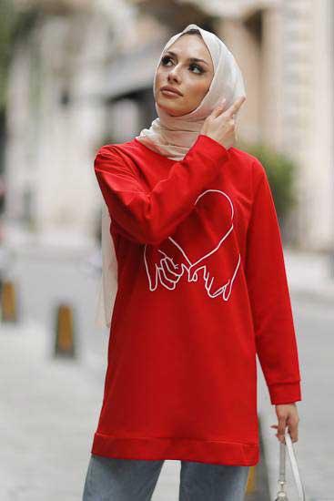 Alize - Kalp Baskılı Kırmızı Tesettür Tunik Alz1961-3 (1)
