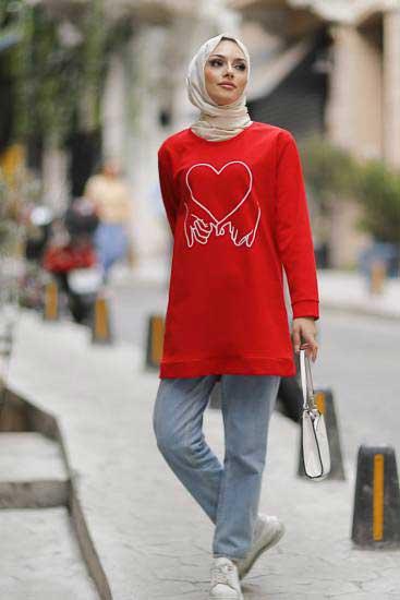 Mestura - Kalp Baskılı Kırmızı Toptan Tesettür Tunik Mst1961-3 (1)