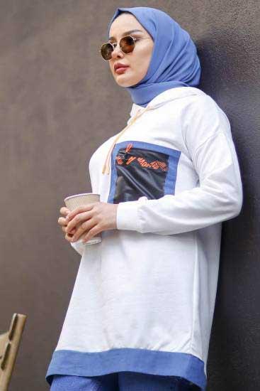 Nessia Butik - Kapşonlu Beyaz Tesettür Tunik Nsa6589-1 (1)
