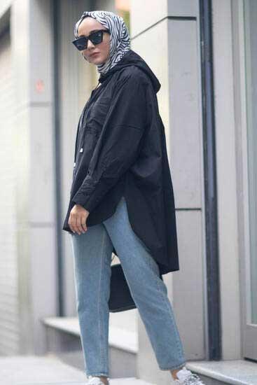 Clb Tekstil - Kapşonlu Siyah Tesettür Gömlek Clb1313-1 (1)