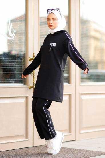 Nessia Butik - Kapşonlu Siyah Tesettür İkili Takım Nsa6548-1 (1)