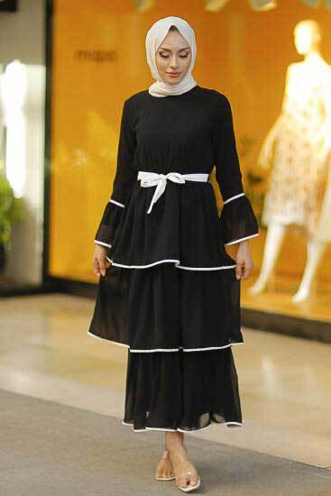 Mestura - Kat Kat Şifon Siyah Toptan Tesettür Elbise Mst7065-1 (1)