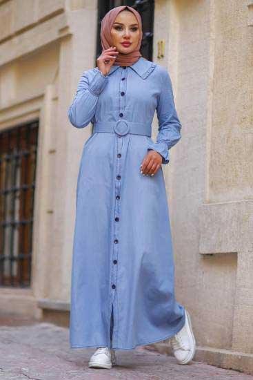 Asme - Kemerli İndigo Kot Tesettür Elbise Asm3633-1 (1)