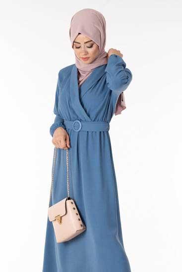 Efulim - Kemerli İndigo Tesettür Elbise Efl5677-1 (1)