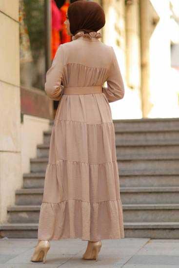 Modapery Butik - Kemerli Krem Tesettür Elbise Mdp10168-1 (1)