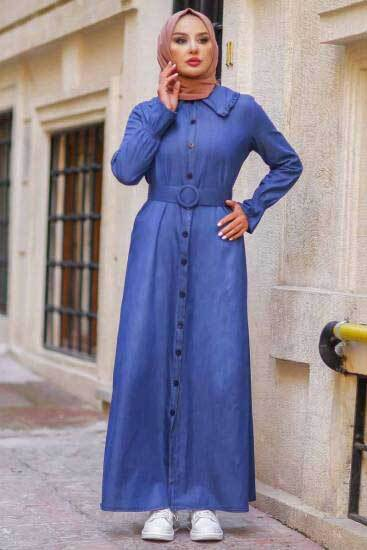 Asme - Kemerli Lacivert Kot Tesettür Elbise Asm3633-2 (1)
