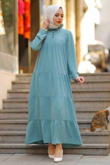 Modapery Butik - Kemerli Mint Tesettür Elbise Mdp10168-4 (1)