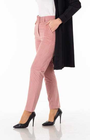 R&M Women - Kemerli Pudra Kadife Pantolon Rmw1411-1 (1)