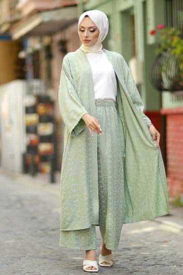 Modapery Butik - Kimono-Pantolon F.Yeşili Tesettür İkili Takım Mdp10516-1 (1)