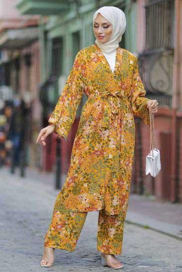 Mestura - Kimono-Pantolon Hardal Toptan Tesettür İkili Takım Mst10513-2 (1)