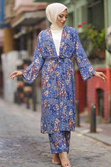 Mestura - Kimono-Pantolon İndigo Toptan Tesettür İkili Takım Mst10513-3 (1)