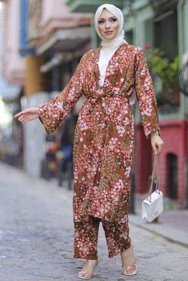 Mestura - Kimono-Pantolon Kiremit Toptan Tesettür İkili Takım Mst10513-4 (1)