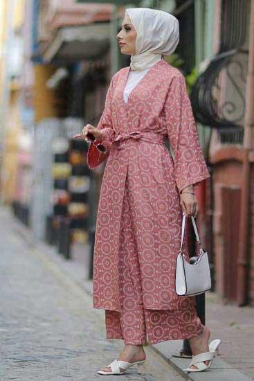 Modapery Butik - Kimono-Pantolon Pudra Tesettür İkili Takım Mdp10516-3 (1)