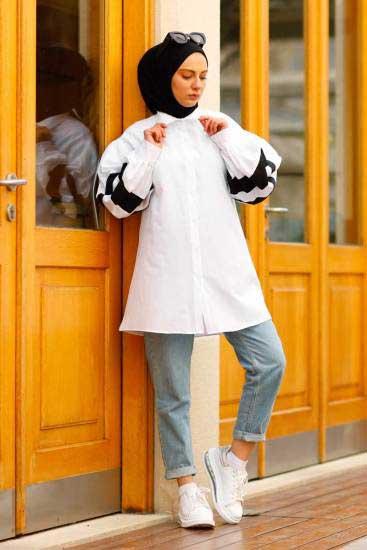 Efulim - Kolları Şeritli Beyaz Tesettür Gömlek Efl5770-1 (1)