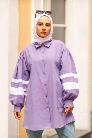 Efulim - Kolları Şeritli Lila Tesettür Gömlek Efl5770-2 (1)