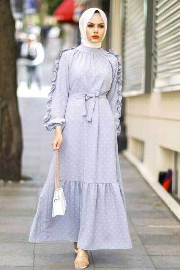 Gülen - Kolu Fırfırlı Gri Tesettür Elbise Gln1014-6 (1)